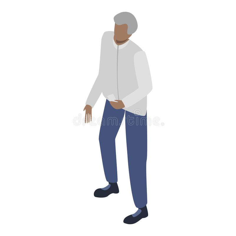Old migrant man icon, isometric style vector illustration