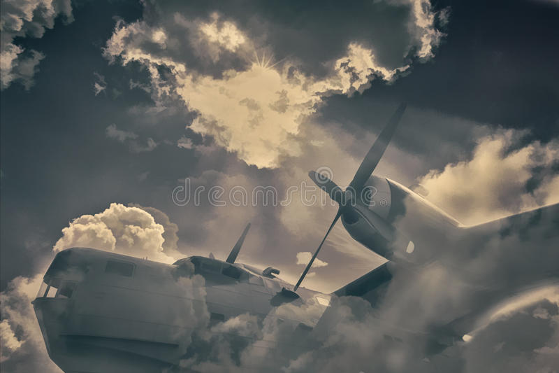 Old military aircraft royalty free stock photos