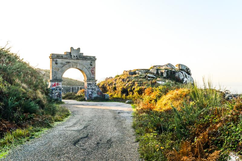 The old military base - Baiona. The abandoned remains of an old Spanish military base in the hills above Baiona - Galicia - Spain stock image