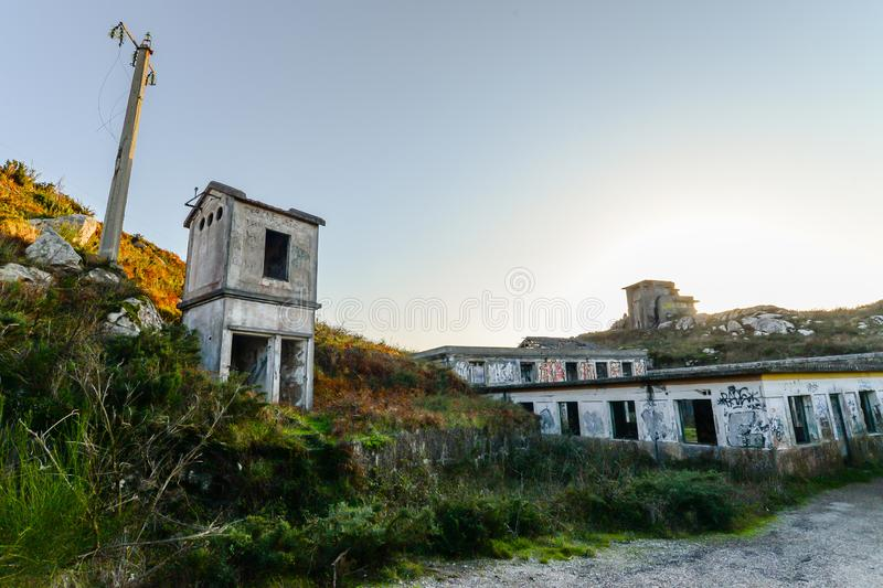 The old military base - Baiona. The abandoned remains of an old Spanish military base in the hills above Baiona - Galicia - Spain stock photo