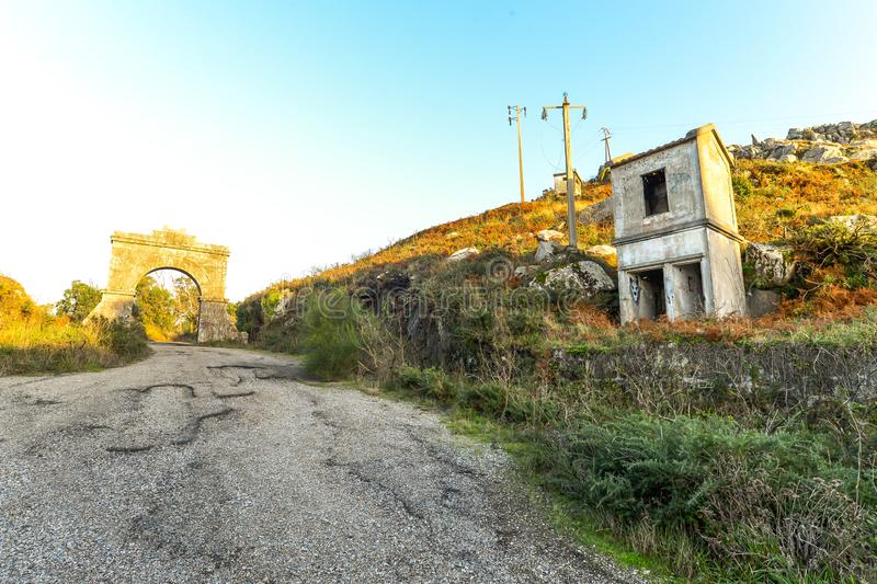 The old military base - Baiona. The abandoned remains of an old Spanish military base in the hills above Baiona - Galicia - Spain royalty free stock photos