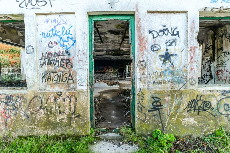 The old military base - Baiona. The abandoned remains of an old Spanish military base in the hills above Baiona - Galicia - Spain royalty free stock photo