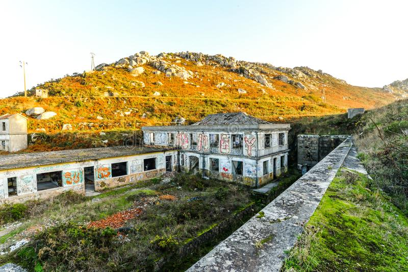 The old military base - Baiona. The abandoned remains of an old Spanish military base in the hills above Baiona - Galicia - Spain royalty free stock images