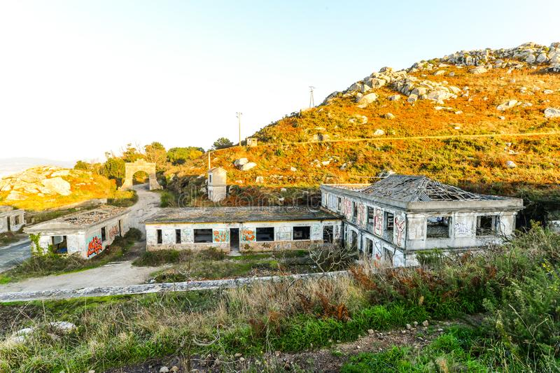 The old military base - Baiona. The abandoned remains of an old Spanish military base in the hills above Baiona - Galicia - Spain royalty free stock image