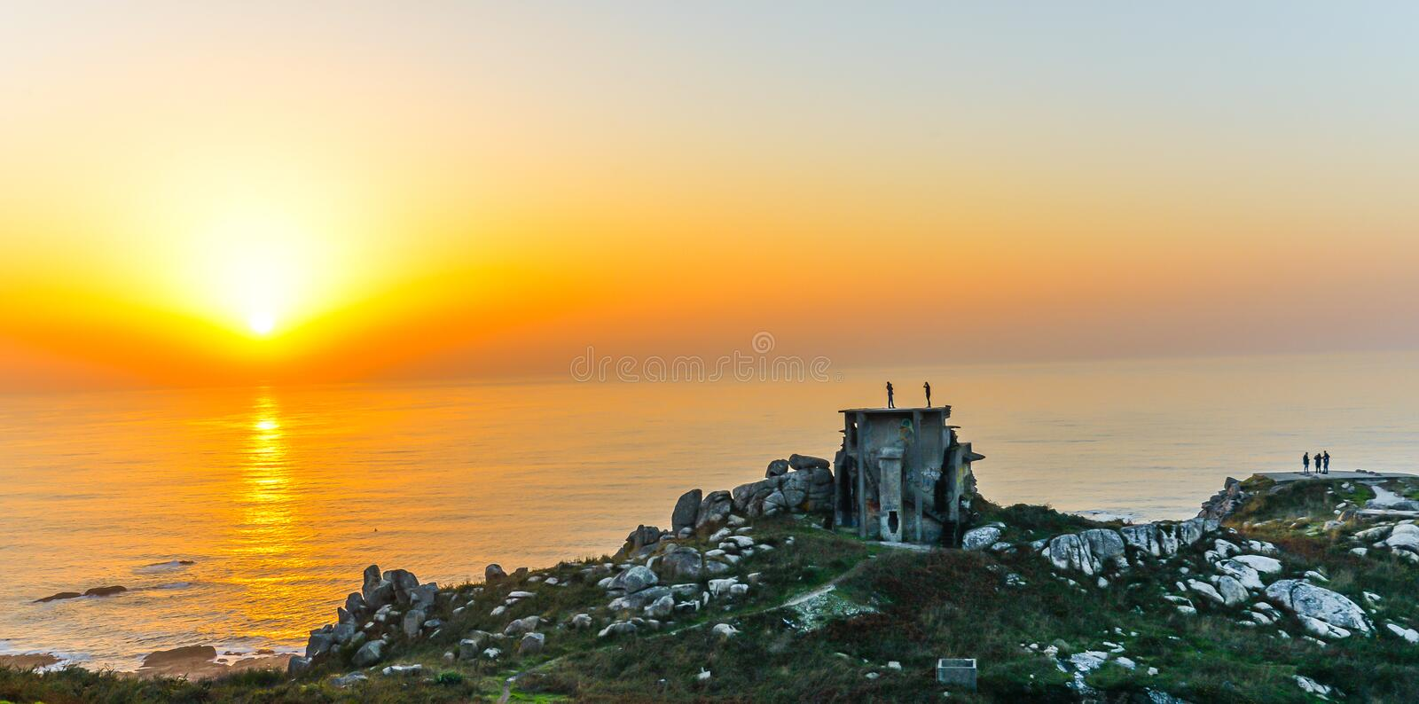 The old military base - Baiona. A sunset view of the abandoned remains of an old Spanish military base in the hills above Baiona - Galicia - Spain stock photos