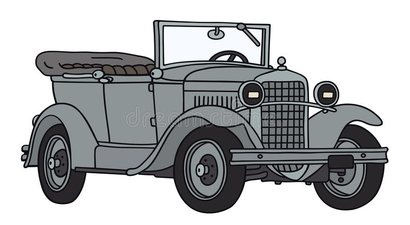 Old military car. Hand drawing of a vintage military car - not a real type stock illustration