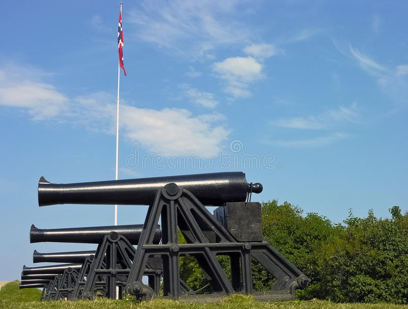 Old military defence cannons royalty free stock photos