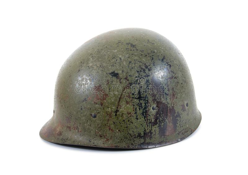 Old Military Helmet Isolated on White. Old military plastic fiber isolated stock photos