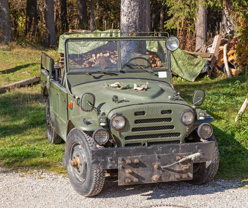 Old military jeep royalty free stock photos