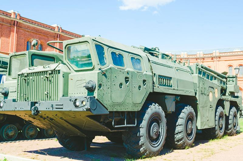 Old military mobile rocket launcher royalty free stock image