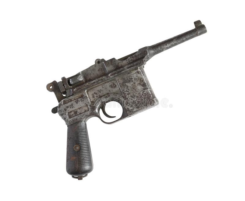 Old Pistol On White. Old military pistol on white background. Isolated with clipping path stock photography