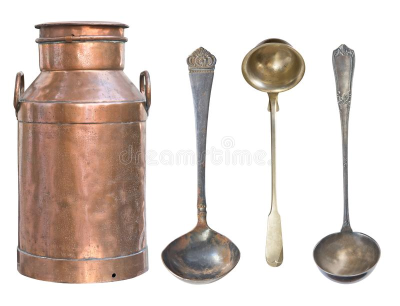 Old milk can copper isolated on white background. Rustic style. Old kitchen utensils and dishes stock photo