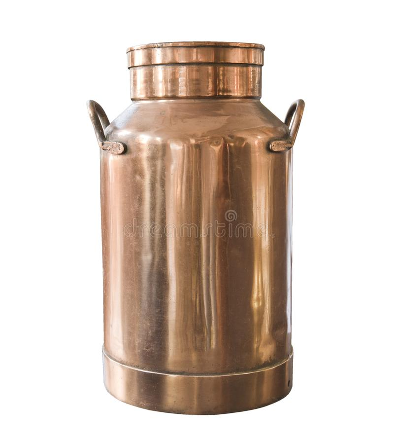 Old milk can copper isolated on white background. Rustic style. royalty free stock image