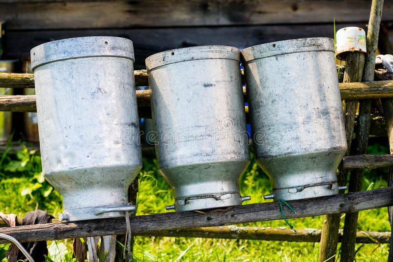 Old Milk Cans Made of Aluminum royalty free stock image