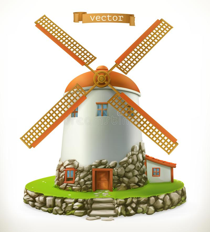Old mill. 3d vector icon vector illustration