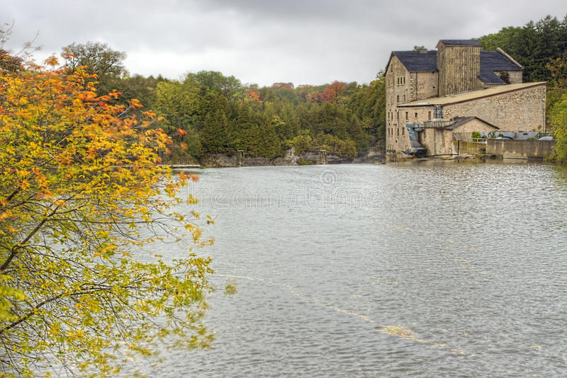 The old mill in Elora, Canada in fall. The old mill in Elora in fall royalty free stock photography