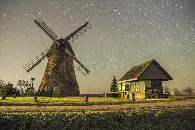 Mills in night, city Araisi, Latvia. Stars and night. 2012 royalty free stock images
