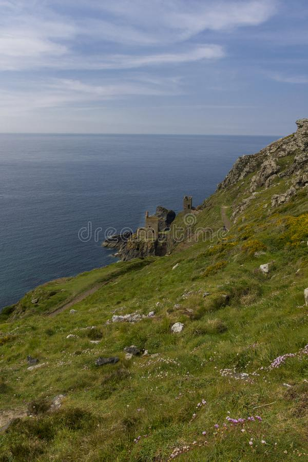 Old mine on cliffs royalty free stock photos