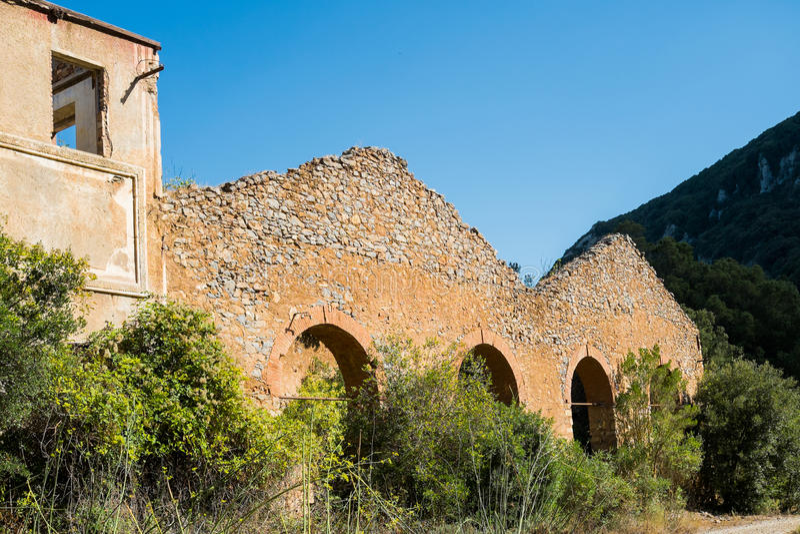 Old mine. Ruin of an old mine close to Iglesias, Sardinia, Italy stock photos