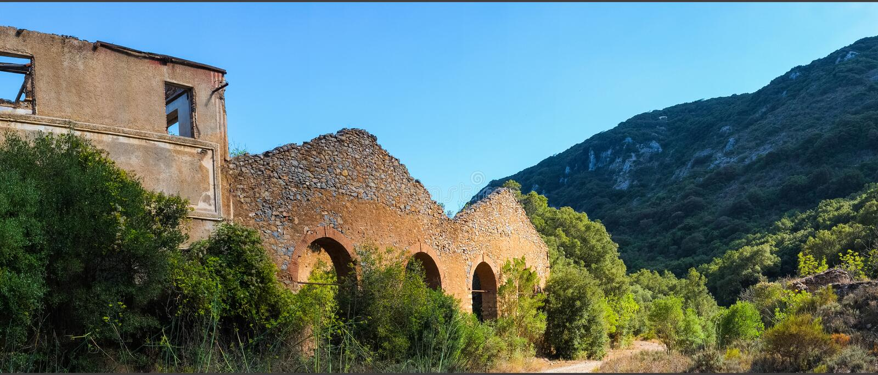 Old mine. Ruin of an old mine close to Iglesias, Sardinia, Italy royalty free stock photos