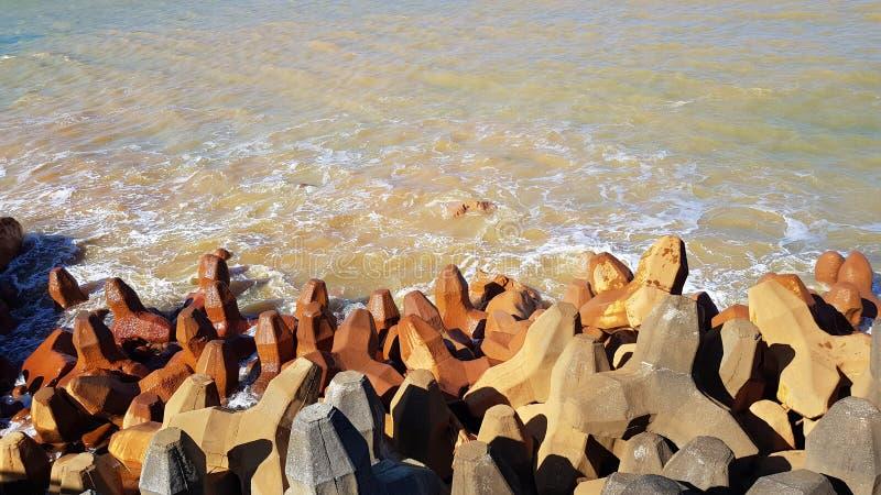 Golden Mine sea shore in Taiwan. Old mine sea shore with two tone color sea stock image
