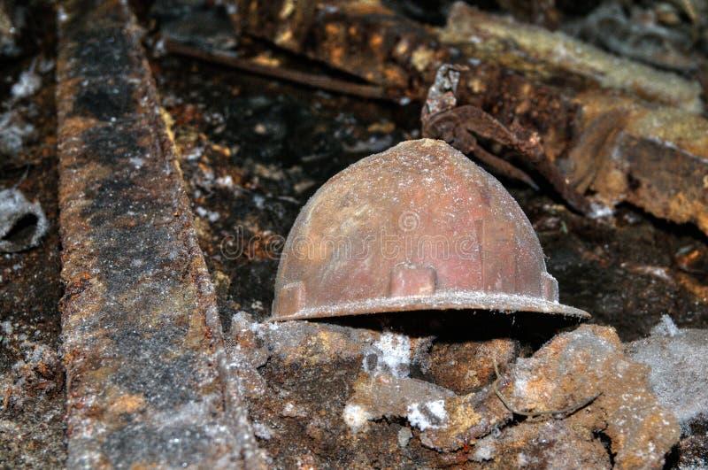Old miner helmet stock photography