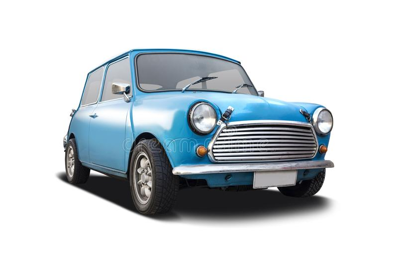 Old Mini Cooper. Old blue Mini Cooper isolated on white stock image
