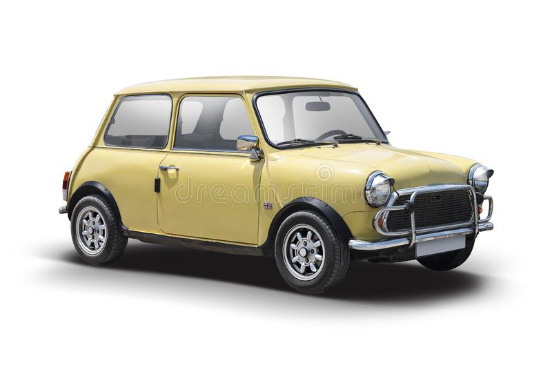 Old Mini Cooper. Old classic Mini Cooper isolated on white stock photo
