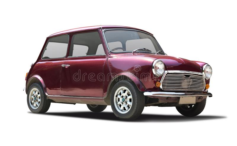 Old Mini Cooper. Old classic Mini Cooper isolated on white royalty free stock photography