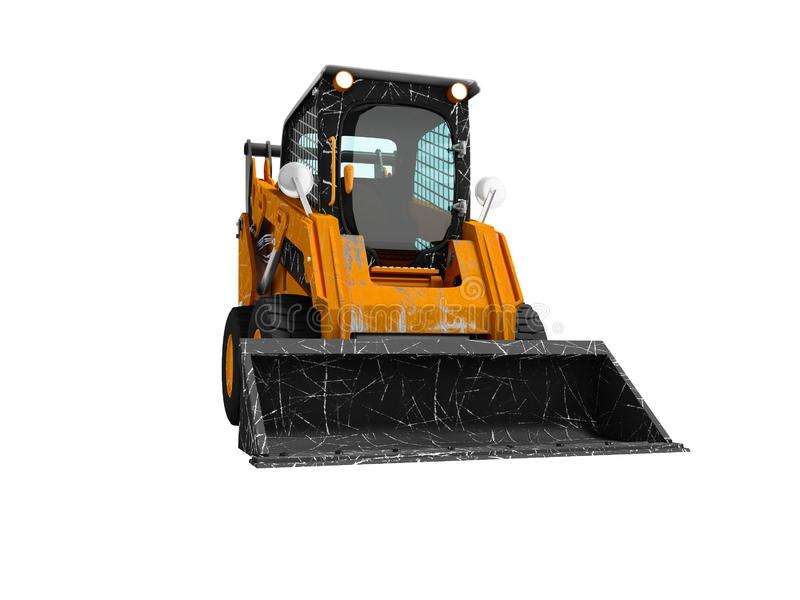 Old mini excavator with scratches on the body with bucket in front 3d render on white background no shadow vector illustration
