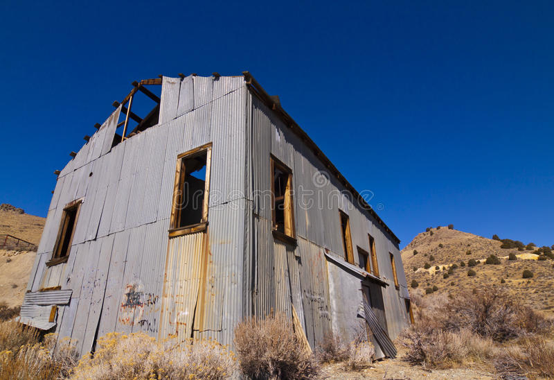 Old Mining Mill Building. Old mining machine building at Gold Hill, Nevada royalty free stock photos