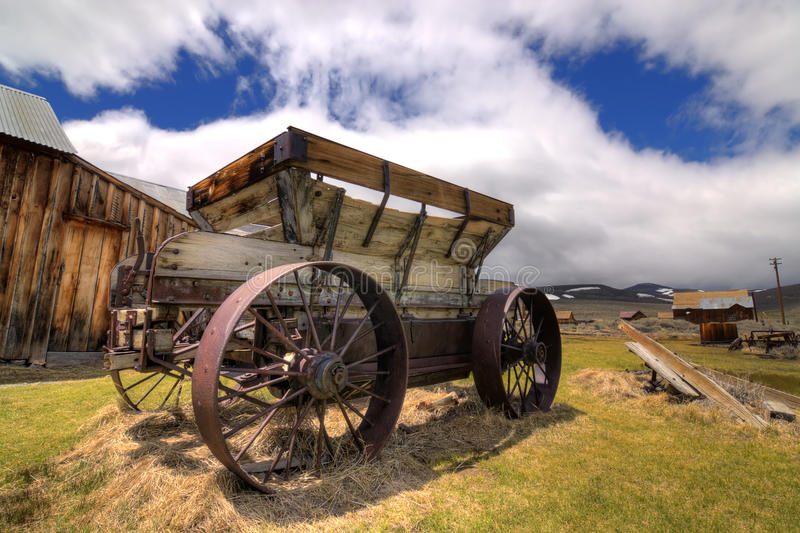 Old Mining Ore Wagon. Old historic gold ore wagon at Bodie ghost town stock image