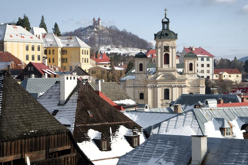Old mining town Banska Stiavnica stock photo