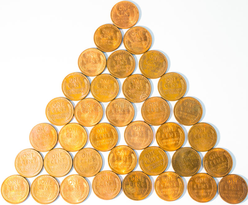 Old Mint-State United States Wheat-Back Lincoln Penny Cents aka Wheaties. This is a picture of old United States pennies called wheat cents made from 1909-1958 royalty free stock photography