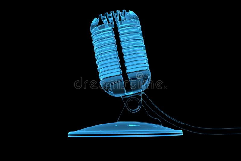 Old mircrophone 3D rendered xray blue. Transparent stock illustration