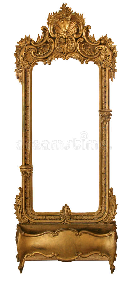 Old Mirror In A Carved Frame Stock Photo - Image of elegance ...