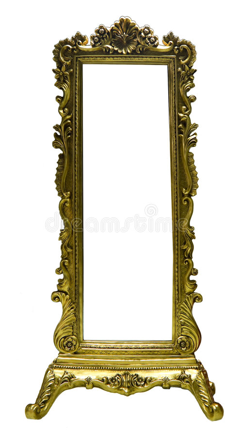 Old Mirror Frame. Isolated on white royalty free stock image