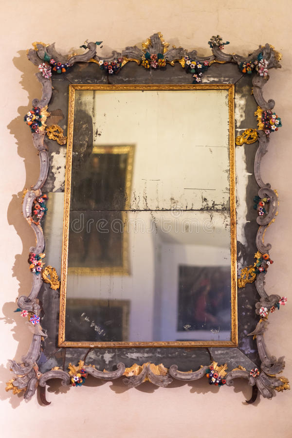 Free Old Mirror In Ducal Palace Museum In Mantua Stock Photography - 91089562