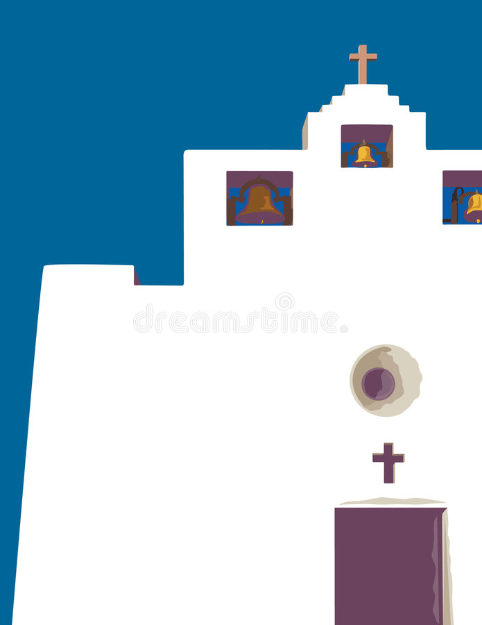 Old Mission. New Mexico mission vector illustration