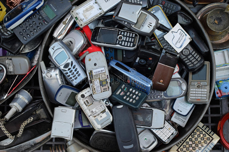 Old mobile cell phones stock photos