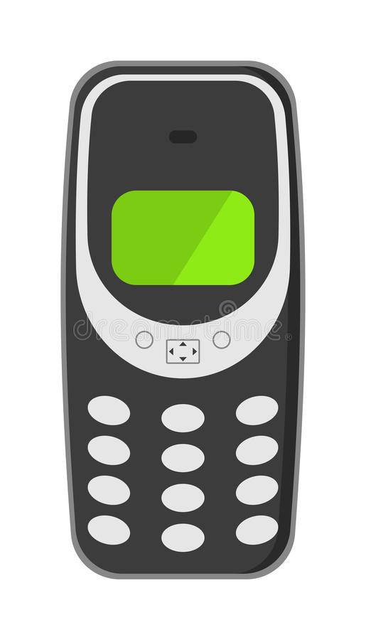 Old mobile phone technology retro cellphone vector illustration. vector illustration