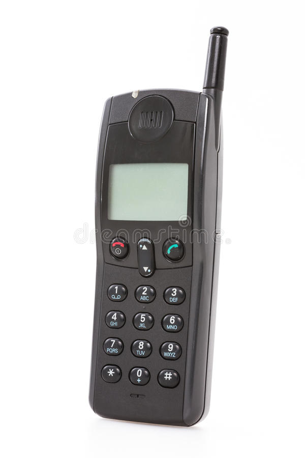 Old mobile phone. Old used mobile phone on white background stock images