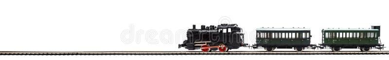 Old model of a passenger train. On white stock image