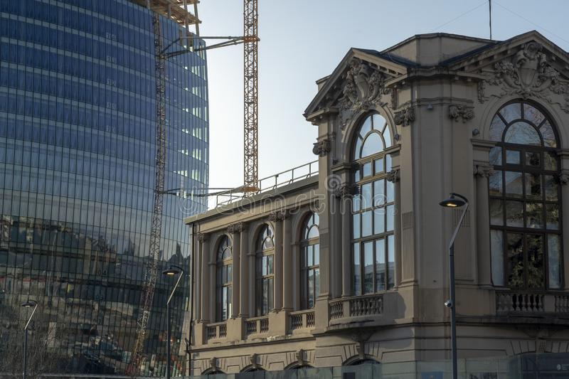 Old and modern buildings at Citylife, Milan stock photography