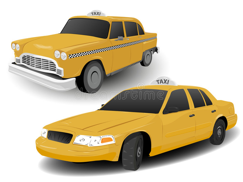 Old and Modern New York Taxis. Traditional and Modern New York Taxi Illustrations stock illustration
