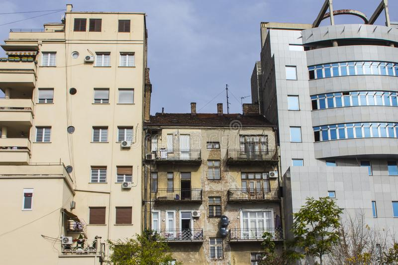Old and modern residential buildings in the city of Belgrade. Serbia royalty free stock photos