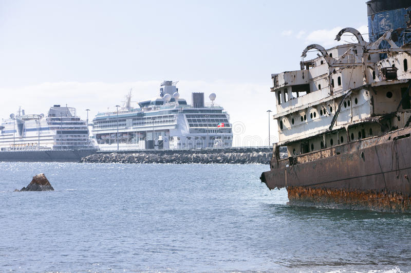 Old and modern ships in Arrecife,Spain royalty free stock photo
