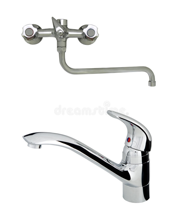 Old with modern stainless steel tap stock photo