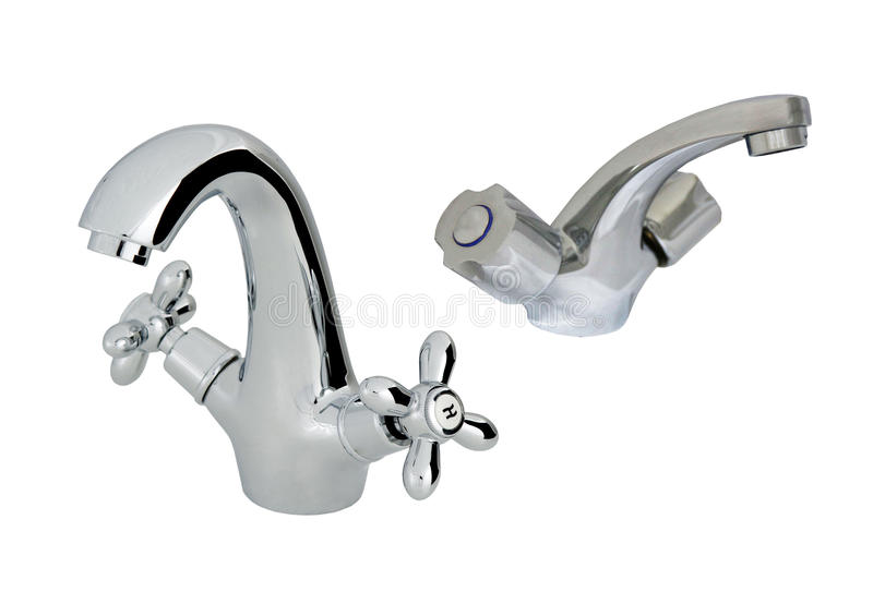 Old with modern stainless steel tap royalty free stock photo