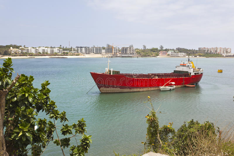 Old Mombasa Port, Kenya. View to a ship in the old port of Mombasa, Kenya stock images